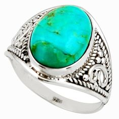 5.90cts pink green arizona mohave turquoise 925 silver ring size 9 r42830