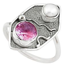 3.50cts pink kunzite (lab) pearl 925 sterling silver handmade ring size 8 t16021