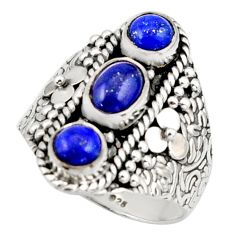 3.39cts pink natural blue lapis lazuli 925 sterling silver ring size 8.5 r42827