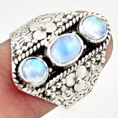 3.05cts pink natural rainbow moonstone 925 sterling silver ring size 7 r42840