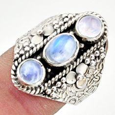 3.34cts pink natural rainbow moonstone 925 sterling silver ring size 8 r42839