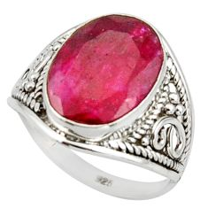 5.58cts pink natural red ruby 925 sterling silver ring jewelry size 7 r42831
