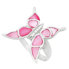 5.26gms pink pearl enamel 925 silver butterfly ring size 8.5 a92006 c13418