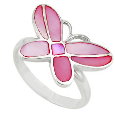 Pink pearl enamel 925 silver butterfly ring jewelry size 9 a64408 c13286