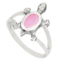 2.02gms pink pearl enamel 925 silver tortoise ring jewelry size 5.5 c21957