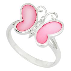 Pink pearl enamel 925 sterling silver butterfly ring size 7 a67666 c13433