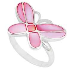 Pink pearl enamel 925 sterling silver butterfly ring size 8 a67669 c13422