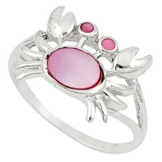 Pink pearl enamel 925 sterling silver crab ring jewelry size 6.5 c21904