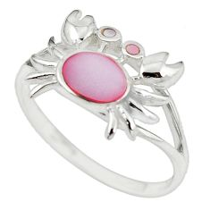 Pink pearl enamel 925 sterling silver crab ring jewelry size 9 a54993 c13369