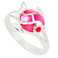Pink pearl enamel 925 sterling silver fish ring jewelry size 6.5 a49475 c13609
