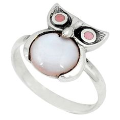 Pink pearl enamel 925 sterling silver owl ring jewelry size 5.5 a46523 c13393