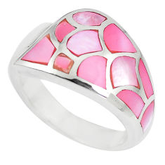 6.69gms pink pearl enamel 925 sterling silver ring size 6.5 a88526 c13322