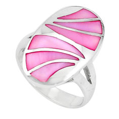 7.48gms pink pearl enamel 925 sterling silver ring size 6.5 a95618 c13301