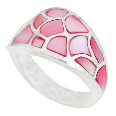 Pink pearl enamel 925 sterling silver ring jewelry size 7.5 a49410 c13330