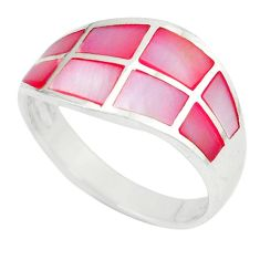 Pink pearl enamel 925 sterling silver ring jewelry size 6.5 a49471 c13608