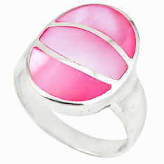 Pink pearl enamel 925 sterling silver ring jewelry size 5.5 c12875