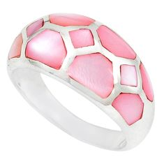 Pink pearl enamel 925 sterling silver ring jewelry size 7.5 c12903