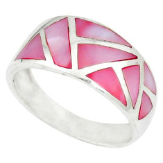 Pink pearl enamel 925 sterling silver ring jewelry size 7.5 c12904