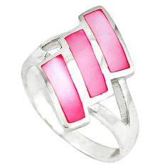 Pink pearl enamel 925 sterling silver ring jewelry size 6.5 c12997