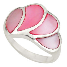 Pink pearl enamel 925 sterling silver ring jewelry size 7.5 c21998