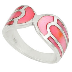 Pink pearl enamel 925 sterling silver ring jewelry size 6 c22734