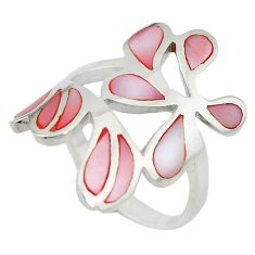 Pink pearl enamel 925 sterling silver ring jewelry size 7 a55152 c13600