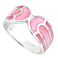 Pink pearl enamel 925 sterling silver ring jewelry size 7 a58962 c13601