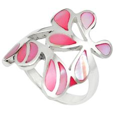 Pink pearl enamel 925 sterling silver ring jewelry size 7 a59462 c13582