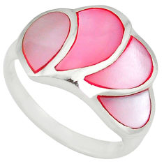 Pink pearl enamel 925 sterling silver ring jewelry size 7 a59508 c13190