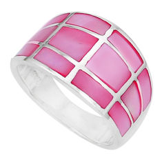 6.26gms pink pearl enamel 925 sterling silver ring jewelry size 8 a95619 c13319