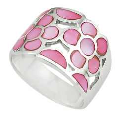 Pink pearl enamel 925 sterling silver ring jewelry size 8 c12995