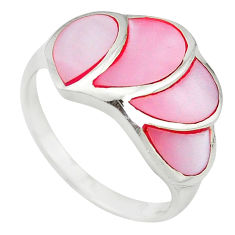 Pink pearl enamel 925 sterling silver ring jewelry size 9 a55055 c13193