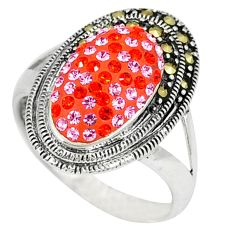 Pink topaz quartz marcasite 925 sterling silver ring jewelry size 7.5 c16334