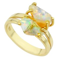 5.45cts prong set natural ethiopian opal raw 14k gold ring size 8 t20743