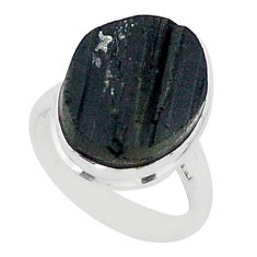 Protector stone black tourmaline raw 925 silver solitaire ring size 7 r96682