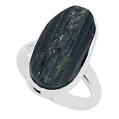 Protector stone black tourmaline raw 925 silver solitaire ring size 8 r96688