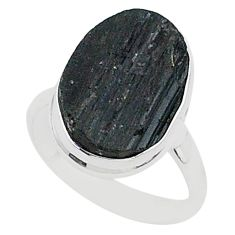 Protector stone black tourmaline raw 925 silver solitaire ring size 8 r96695