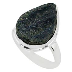 Protector stone black tourmaline raw 925 silver solitaire ring size 8 r96696