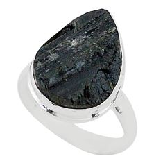 Protector stone black tourmaline raw 925 silver solitaire ring size 9 r96698