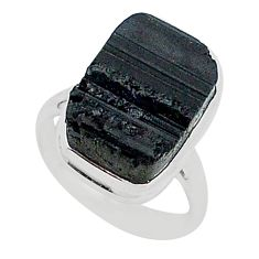 Protector stone black tourmaline raw 925 sterling silver ring size 7 r96653
