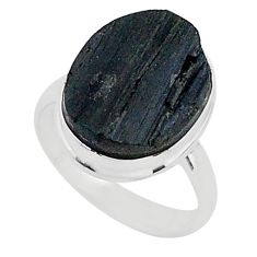 Protector stone black tourmaline raw 925 sterling silver ring size 8 r96642