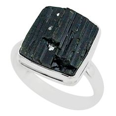 Protector stone black tourmaline raw 925 sterling silver ring size 9 r96649