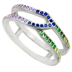 1.34cts purple amethyst quartz emerald (lab) 925 silver ring size 6.5 c9412