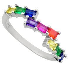 2.24cts purple amethyst quartz emerald (lab) 925 silver ring size 6.5 c9433