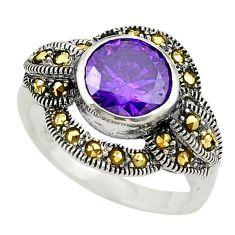Purple amethyst quartz fine marcasite 925 silver ring jewelry size 5.5 c22976