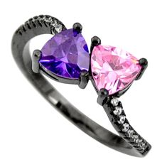 3.18cts purple amethyst quartz kunzite (lab) 925 silver ring size 7.5 c9022
