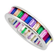 4.52cts purple amethyst quartz sapphire (lab) 925 silver ring size 8.5 c10061