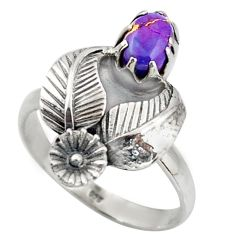 1.49cts purple copper turquoise 925 silver flower solitaire ring size 8 d46146