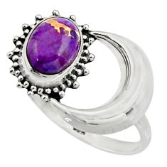 3.25cts purple copper turquoise 925 silver half moon ring size 8.5 r26748