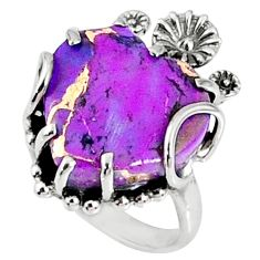 11.74cts purple copper turquoise 925 silver heart ring jewelry size 6 r67532
